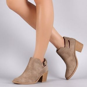 Qupid Perforated Taupe Booties